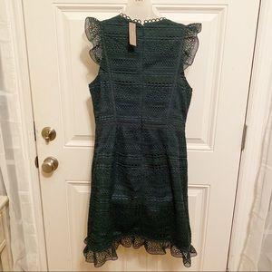 J. Crew Dresses - J. Crew Cap Sleeve Ruffle Dark Green Lace Dress